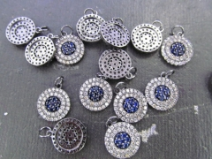 12pcs 22mm CZ Micro Pave Diamond Cubic Zirconia heart round coin horse eye evil earrings Healing Han