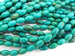 2strands 10x20mm Tibetant Turquoise stone drum rice barrel bicone Bule Green spacer Bead