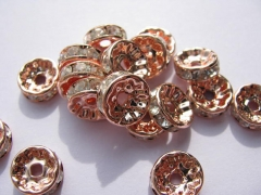 100pcs 4 -12mm Micro Pave Crystal spacer Beads Brass Rondelle Pinwheel Buttone brozne Rose gold silv