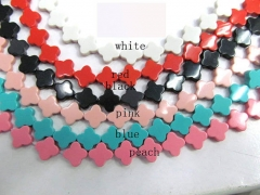 wholeasale 2strands 8 10 12mm Synthesize turquoise clover bead , clove florial white black oranger pink red cherry pink blue jew