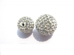wholesale grey beads 100pcs 4-12mm Micro Pave Clay Crystal rhinestone Round Ball clear white grey bl