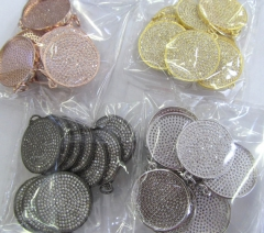 6pcs 28mm CZ Micro Pave Beads Spacer Beads roundel disc Micro Pave Disc Connector CZ Pave Connector