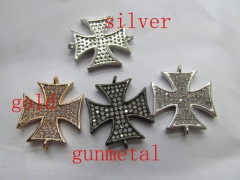 12pcs 25x25mm cross CZ Micro Pave Diamond Cubic Zirconia horse eye evil earrings Healing Hand sharp