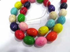 2strands 8-20mm Rainbow Turquoise stone drum rice barrel muticolor For necklace loose Bead