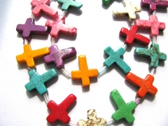 high qulaity 2strands Turquoise stone cross pendant green blue white red purple mixed wholesale loose beads 12x16mm