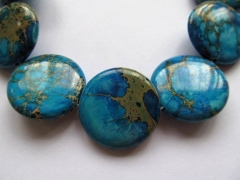 10 12 16 18 20 25mm Sea Sediment Imperial Jasper stone Round Disc Coin royal blue mixed jewelry bead