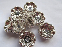 100pcs 4-25mm Micro Pave Crystal spacer Brass European Bead Rondelle Pinwheel Buttone silver gold gu