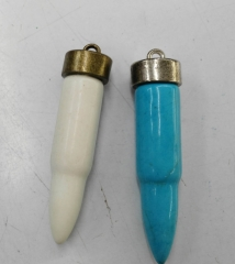 60mm 2pcs turquoise Bullet Pendant Brass European Bead spikes Sharp black turquoise focal horn bead