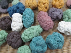 Pendant 12pcs 25-50mm Lava Volcanic Gem Nuggets Freeform Slab Cream white Dark Green Royal Blue Pink