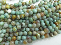 5strands 6 8 10mm Green Agate Carnerial chalcendony bead Gem Round Ball cracked faceted mixed loose