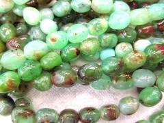 Natural chrysoprase Opal gems wholesale 8-20mm full strand freeform nuggets egg green Brown jewelry