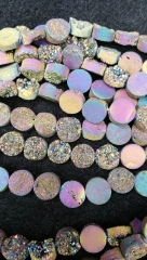 Drilled--AA Grade 8-12mm full strand Genuine Duzy Drusy Agate Round Button Rose AB mystic Rainbow Bl