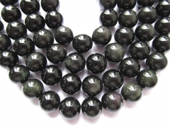 2strands 4-16mm Geniune Rainbow Obsiidan gemstone round ball black flashy evil obsidian beads