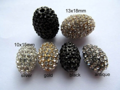 100pcs 8x10-15x20mm Pave Micro Rhinestone Brass Crystal Connector ,Rice Drum Hematite Gunmetal Antiq