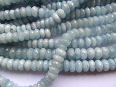 high quality Genuine Aquamarine Beryl gemstone Rondelle Faceted Blue beads 3x5 4x6 5x8 6x10 6x12mm