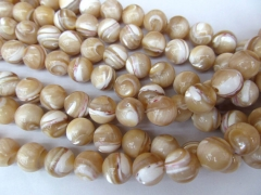 high quality Shell bead Jewelry 2strands 6-12mm MOP white shell bead round ball brown coffee black j