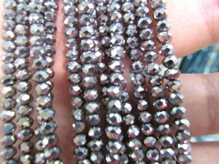 Silver Hematite 5strands 3-8mm Hematite gem Titanium plated ,rondelle pinwheel faceted blue gold,gun