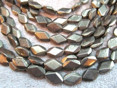 2strands 8-14mm genuine gleaming pyrite crystal oval egg diamond faceted iron gold pyrite beads