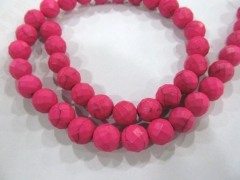 2strands cherry red Turquoise stone Round Ball faceted wholesale loose beads 8 1012mm