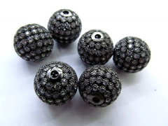 Cubic Zirconia Micro Pave Brass European Bead 12pcs 6-16mm ,Rourn Ball clear white Purple sapphire b