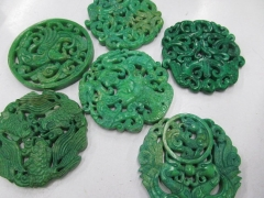 Wholesale 6pcs 70mm Ancient Jade Pendant handmade Rare Animal butterfly Green Assortment focal beads