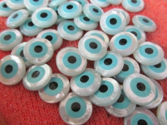 25pcs 4 6 8 10 12mm High Quality Genuine MOP Shell mother of pearl Round Coin Turquoise blue evil eyes White Assortment beads