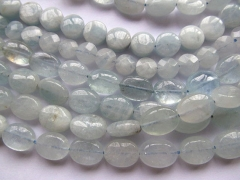 High Quality 2strands 6 7 8 9mm Genuine Aquamarine Beryl oval egg Round coin Disc blue Jewelry Bead