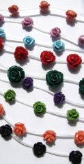Rose carved bead 100pcs 6-15mm Acrylic Resin Platic rose fluorial carved assortment jewelry beads