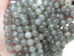 High Quality 4-12mm full strand genuine grey black sunstone stone Round Ball flashy sunstone bead je