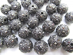 high quality 100pcs 6 8 10 12mm Micro Pave Hemaite Crystal Brass Spacer Round Ball Gunmeta Charm bea