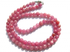 high quality Genuine Raw Ruby necklace ,sapphire blue Bead round ball faceted jewelry suippers red n