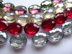 high quality 2strands 10-25mm Crystal like gorgous egg oval Faceted Ocean blue green red ruby grey b