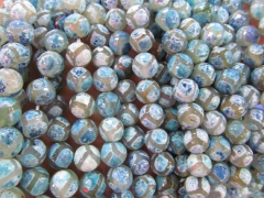 high quality 5strands 8 10 12mm Tibetant Agate Gem Round Ball Faceted Triangle Eyes Evil purple aqua