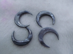 50pcs 40-50mm shell jewlery Double Ended White/Ivory crescent shaped pendant white blue grey spikes