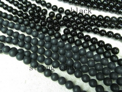 20%off--3 4 6 8 10 12 14 16mm full strand Natural Brazil Agate Gem Round Ball Black Jet white loose bead