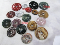 12pcs 50mm semiprecious gemstone pendant  Red jade stone picture jasper Agate White turquoise Donut Pi Donut Focal Pendant round