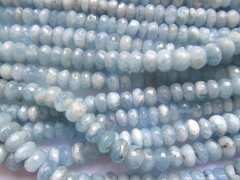 Full strand 2-10mm Genuine Aquamarine Beryl gemstone Rondelle Faceted Blue Loose beads
