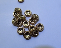 50pcs 10mm 18k Solid gold spacer Brass European Bead Rondelle Pinwheel Buttone making Findings