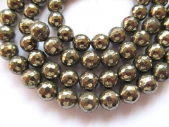 Pyrite bead high quality 2strands 3 4 6 8 10 12mm genuine Raw pyrite crystal round ball faceted iron gold pyrite beads