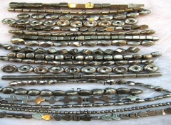 Sale 10strands 4-16mm genuine Raw pyrite stone iron gold box square cube donut freeform rice barrel coin round oval faceted pyri