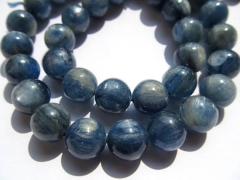 "high quality 3 4 5 6 7 8 10mm Natural Kyanite Gemstone 16"" strand Round Ball Blue Loose Bead"