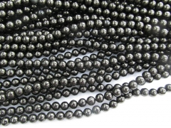 Wholesale 4 6 8 10 12mm Natural Jet pyrite Crystal Black Quartz Gemstone Round Ball Jet GEM Necklace beads