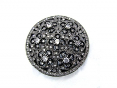 Flower Micro pave Diamond Pave CZ roundel  X Pendant, peace, gunmetal silver round Charm beads multi strand connector 40mm