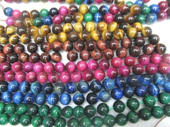 "8\10\12mm Rainbow Tiger eye beads,Mahogany Red Tiger eye Gemstone ,Tiger stone necklace round Grade A+ loose beads 16"" full strand"