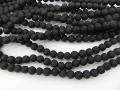 "Full strand 16"" 4-20mm black jet Lava volcanic gem Round Ball White ivory white royal blue rainbow lava stone beads A+ Grade"