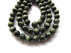 "AA+ Full strand 16"" Genuine Chrysoberyl Cat Eye Gemstone Round ball green Chrysoberyl jewelry Loose Beads 6-14mm"