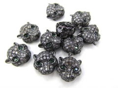 Express ship 24pcs CZ Micro Pave 11mm Panther Head Beads White Silver Rose Gold Mixed color CZ Bead,Black Gunmetal animal charm