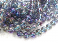 4-14mm Natural quartz beads  Full strand 16inch blue crystal  grey quartz Round Ball smooth Crystal Jewelry