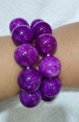 20mm Natural sugilite purple jade green jade gemstone  Round Bracelet jewelry 8inch for gift