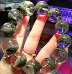 AAA grade  Natural  Green Rutilated quartz Round Bracelet jewelry8inch for gift 10\12\14\16\18\20mm